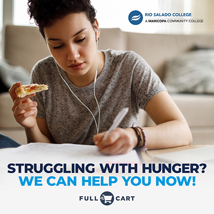 Full Cart Poster: Struggling with Hunger?  We Can Help You Now.