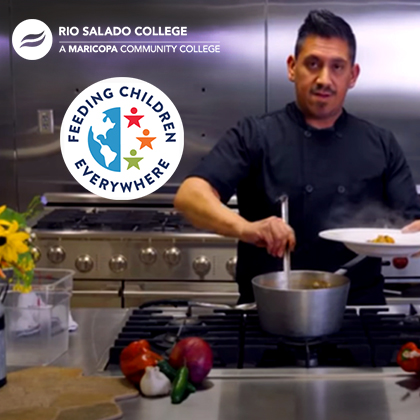 Rio Salado Chef serving a dish, Struggling with Hunger we can Help poster.