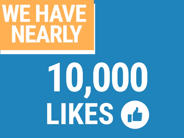 We have nearly 10,000 Likes, Facebook Like icon.