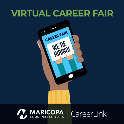 """Graphic shows a person holding a phone that reads, """"career fair, We're hiring!"""""""
