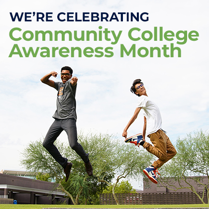 """Graphic shows two people jumping in the air. The words """"We're celebrating community college awareness month"""" shows at the top"""