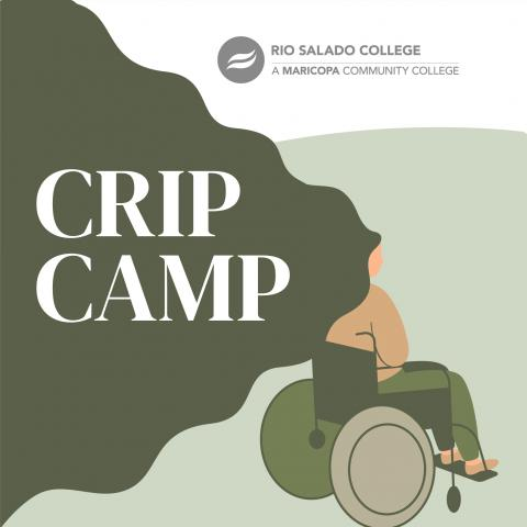 cartoon of person in a wheelchair with text 'Crip Camp'