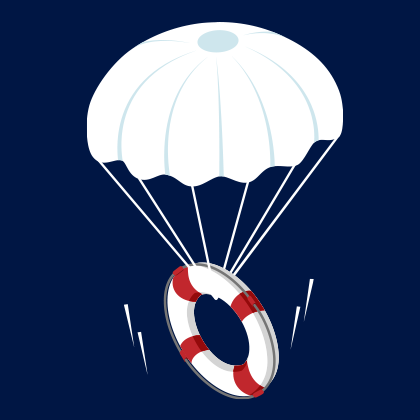 Graphic of a life ring attached to parachute