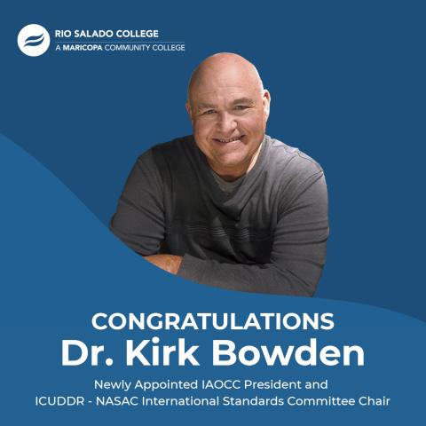Photo of Dr. Bowden smiling.  Congratulations to Dr. Kirk Bowden on his new appointments with  IAOCC ICUDDR - NASAC