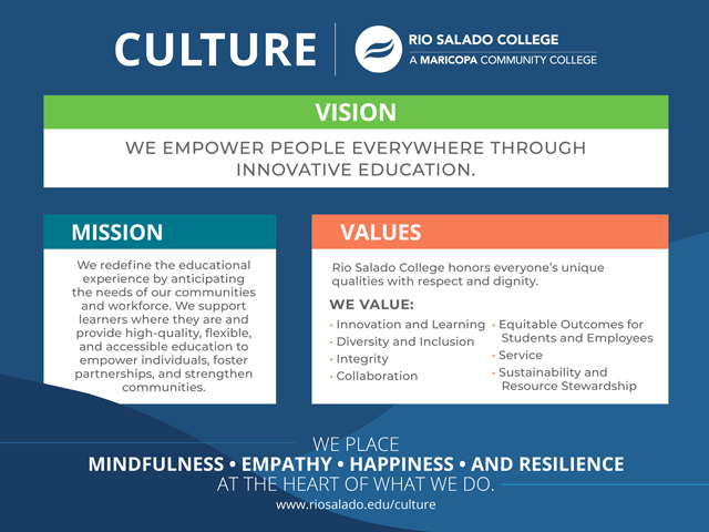 Rio Salado Culture Page with mission and value statements, including 4 practices