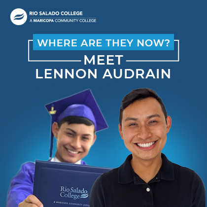 photo of graduate with text: Where are they now? Meet Lennon Audrain
