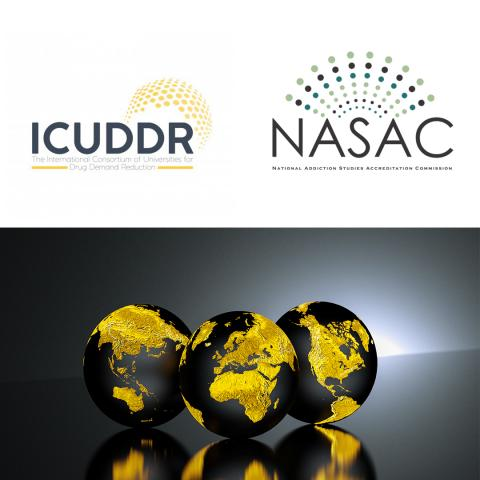 ICUDDR and NASAC logos sitting above three globes of the earth featuring major continents in gold.