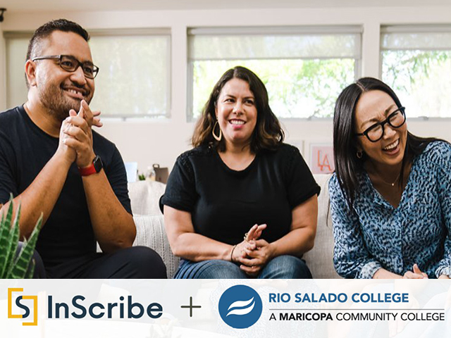 Group of diverse people gathered in a living room laughing.  Text: Inscribe + Rio Salado College
