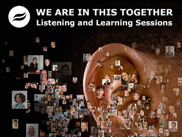 Close up shot of an ear and photos of people. Text: WE ARE IN THIS TOGETHER Listening & Learning Sessions