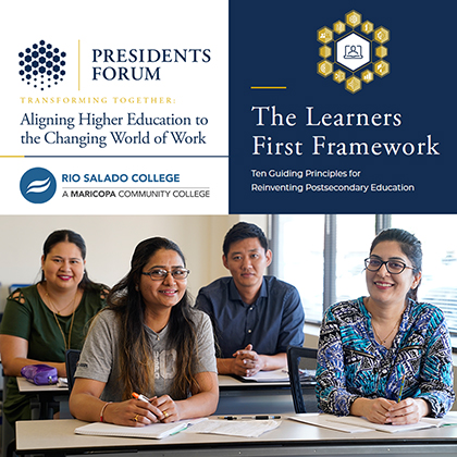 Diverse group of students in classroom smiling. Presidents Forum: Aligning Higher Education to the World of Work