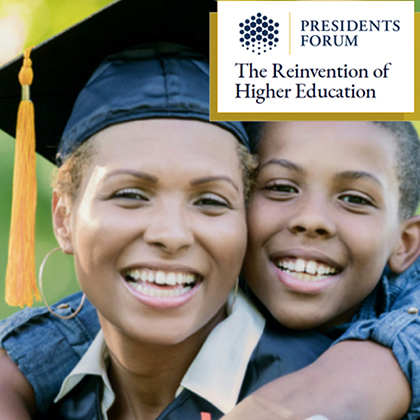 Black female grad with her son smiling. Presidents Forum: The Reinvention of Higher Education