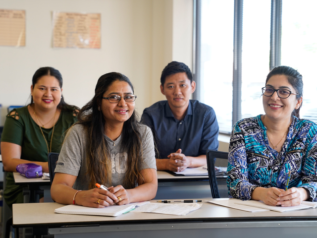 A classroom of diverse students of different ages and origins in Rio Salado classroom