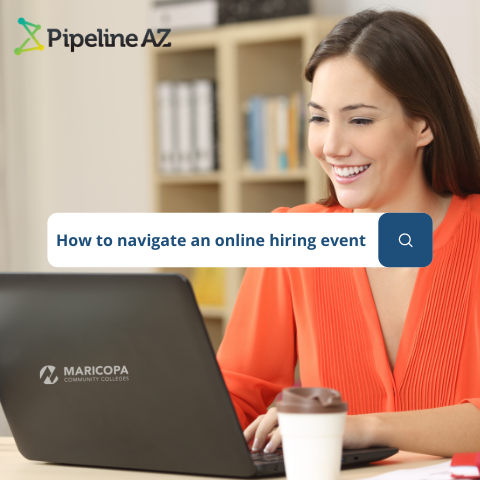 Woman on computer with text How to Navigate an Online Hiring Event