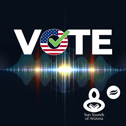 Vote poster with radio waves, Sun Sounds and Rio waves brand