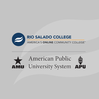 Images of Rio Salado College and American Public University System logos and text with college names