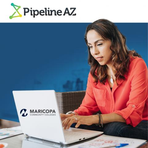 Student on computer with test PipelineAZ and Maricopa Community Colleges