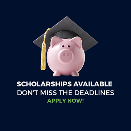 pig wearing grad cap 'Scholarships available, Don't miss the deadlines, apply now'