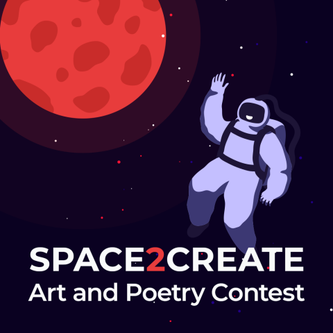 graphic of astronaut and a red moon