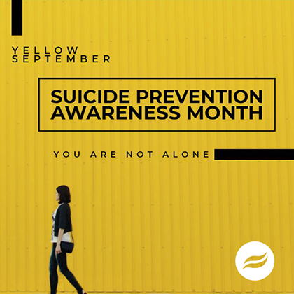 Yellow September Suicide Prevention Month poster. You Are Not Alone.