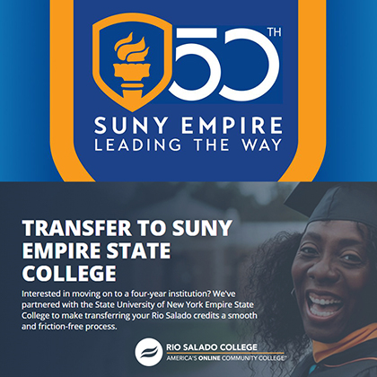 Transfer to SUNY Empire State College with Rio Salado College. Happy, African American female grad smiling.