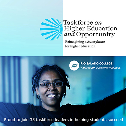 A young black woman smiling. Rio Salado College, Taskforce on Higher Education and Opportunity