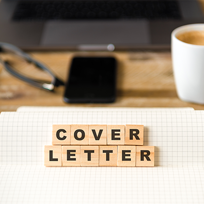 scrabble pieces spelling out 'Cover Letter'