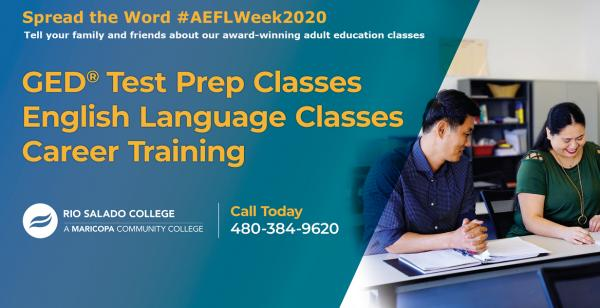 Spread the word #AEFLWeek2020 about our adult education: GED Test Prep and English Language Classes