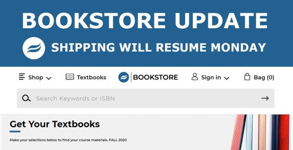 Bookstore update: shipping will resume Monday
