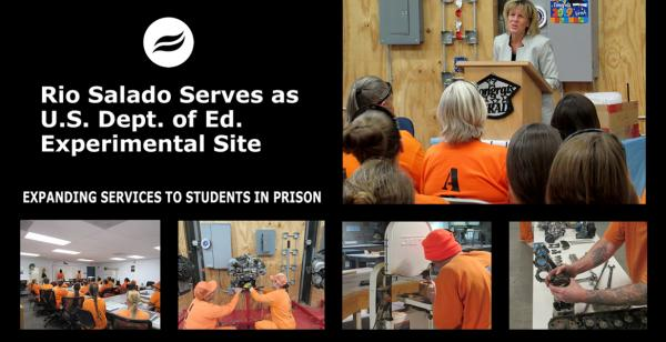 President Smith at incarcerated student grad ceremony, students in classes