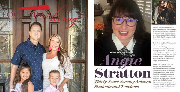 Cover of Foothills Living and snapshot of Angie Stratton feature.