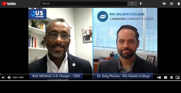 YouTube interview with US Hunger CEO Rick Whitted and Rio Salado VP Dr. Greg Pereira in their offices. Organization logos.