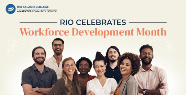 photo of a group of diverse workers with text Rio Celebrates Workforce Development Month