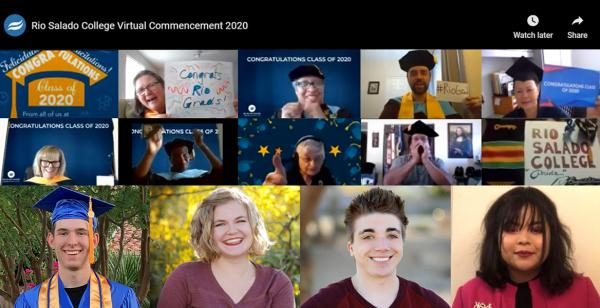 Rio Salado staff applauding 2020 graduates and photos of students featured in this story
