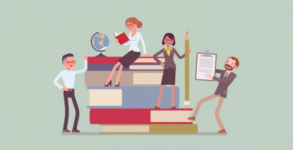 Illustration of 4 teachers standing on giant books holding pencil and clipboard.