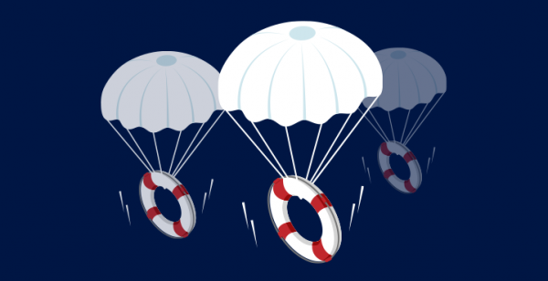 Graphic of 3 life rings attached to parachutes
