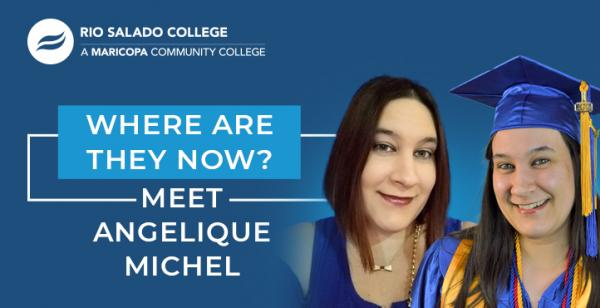 picture of graduate with text 'Where Are They Now? Meet Angelique Michel'