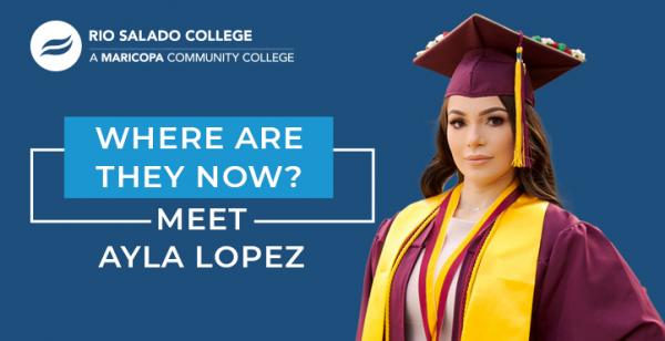 photo of Rio graduate with Rio logo and text: Where are they now? Meet Ayla Lopez