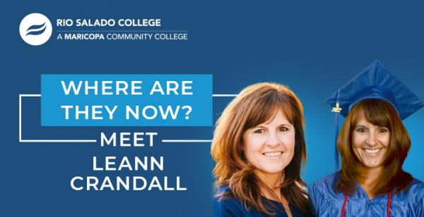 two photos of a graduate, one in cap and gown with text 'Where Are They Now Alumni Profile – Meet Leann Crandall'