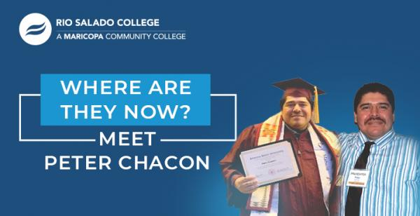 two photos of Peter Chacon: graduation cap and gown and a tie with text 'Where Are They Now Alumni Profile - Meet Peter Chacon'