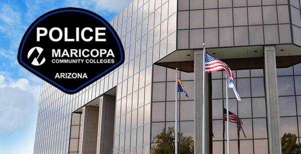 Maricopa Community Colleges District building and police badge