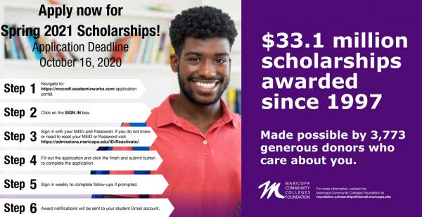 MCCF scholarship poster outlining 6 steps to apply. Deadline to apply for spring 2021 scholarships is Oct. 16, 2020.
