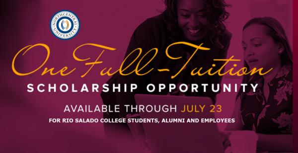 NCU One Full Tuition Scholarship Opportunity. Available through July 23