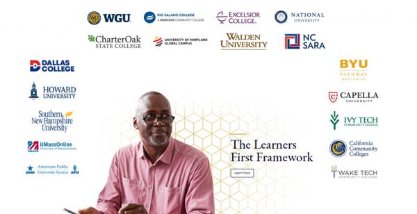 The Learners First Framework. Logos of 17 colleges surrounding a middle aged black man smiling with mobile device.