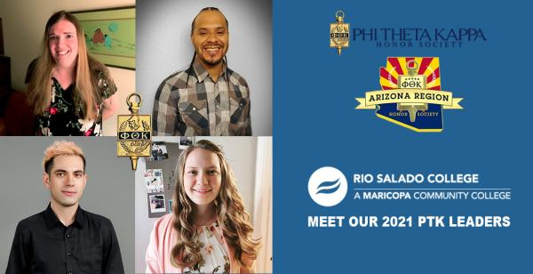 4 student leaders smiling. Alpha Theta Omicron Earns 8 PTK Awards Meet our 2021 Leaders.