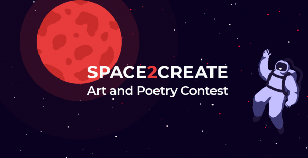 graphic of astronaut and a red moon with text 'space 2 create art and poetry contest'