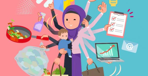 A woman wearing hijab who perform multitasking in offices and private. Shows her with multiple arms doing home tasks and work.