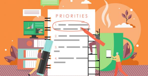 tiny people identifying priority tasks on a giant list