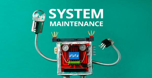 WALL-E type bot and text: System Maintenance