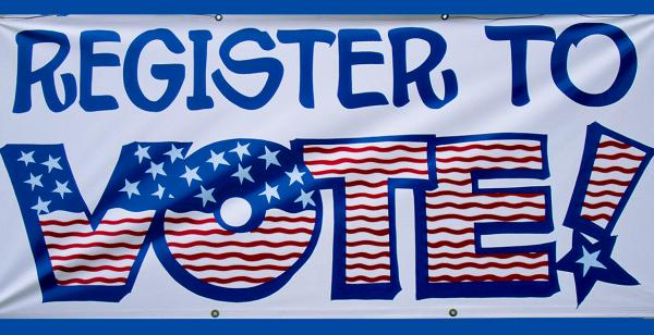 Banner reads register to vote