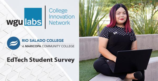 Young hispanic woman sitting in a garden with laptop, smiling at camera. WGU Labs, College Innovation Network, Rio Salado Colle